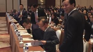 Ông Quách Quảng Xương (thứ hai từ phải sang), chủ tịch tập đoàn Phục Tinh trong cuộc họp thường niên tại Thượng Hải ngày 14/12/2015.