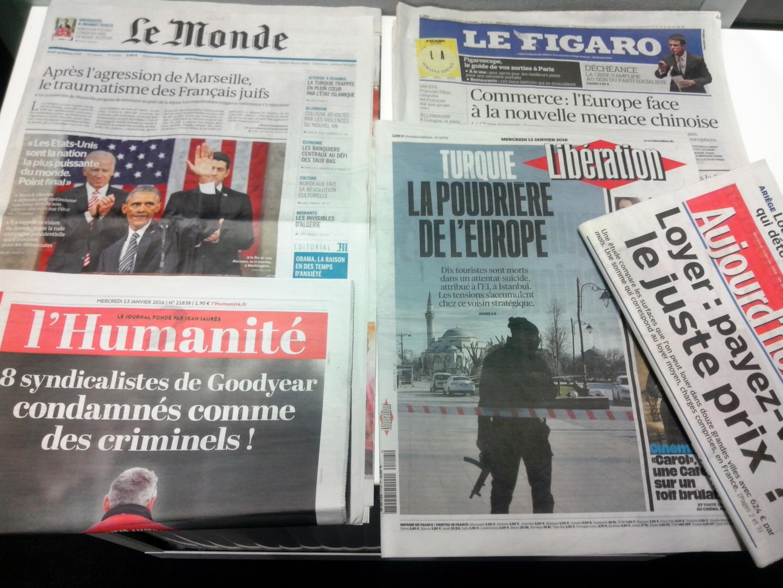 Capas de jornais franceses de 13 de janeiro de 2016