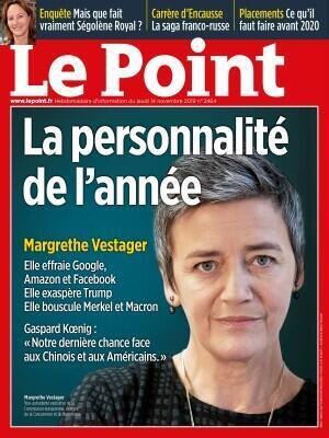A personalidade do ano de 2019 da revista Le Point é a comissária europeia da Concorrência e da Inovação Digital, a dinamarquesa Margrethe Vestager.