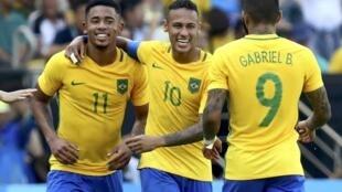 Gabriel Jesus, Neymar e Gabriel, o trio ofensivo do Brasil que infernizou a defesa hondurenha na semifinal disputada no Maracanã.