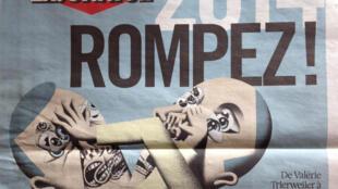 """Capa do jornal """"Libération"""" desta quarta-feira, 31 de dezembro de 2014."""