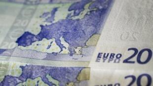 20歐元上的歐元區地圖