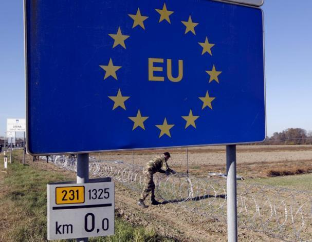 A la frontière entre la Slovénie, membre de l'espace Schengen, et la Croatie.