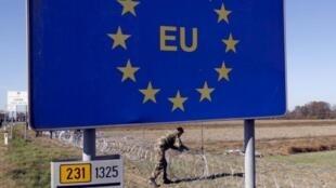 A la frontière entre la Slovénie et la Croatie.
