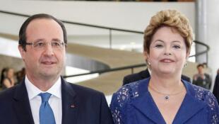 Presidente francês esteve no Brasil na semana passada, e se reuniu com Dilma Rousseff.