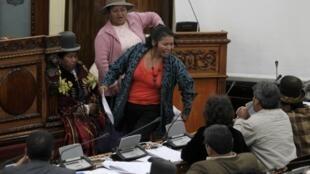 A deputada indígena Teresa Nomine defende, na Câmara boliviana, a proteção da reserva Tipnis, ameaçada pela obra da OAS.