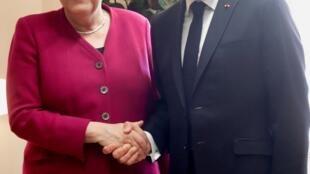 法国总统马克龙与德国总理默克尔。