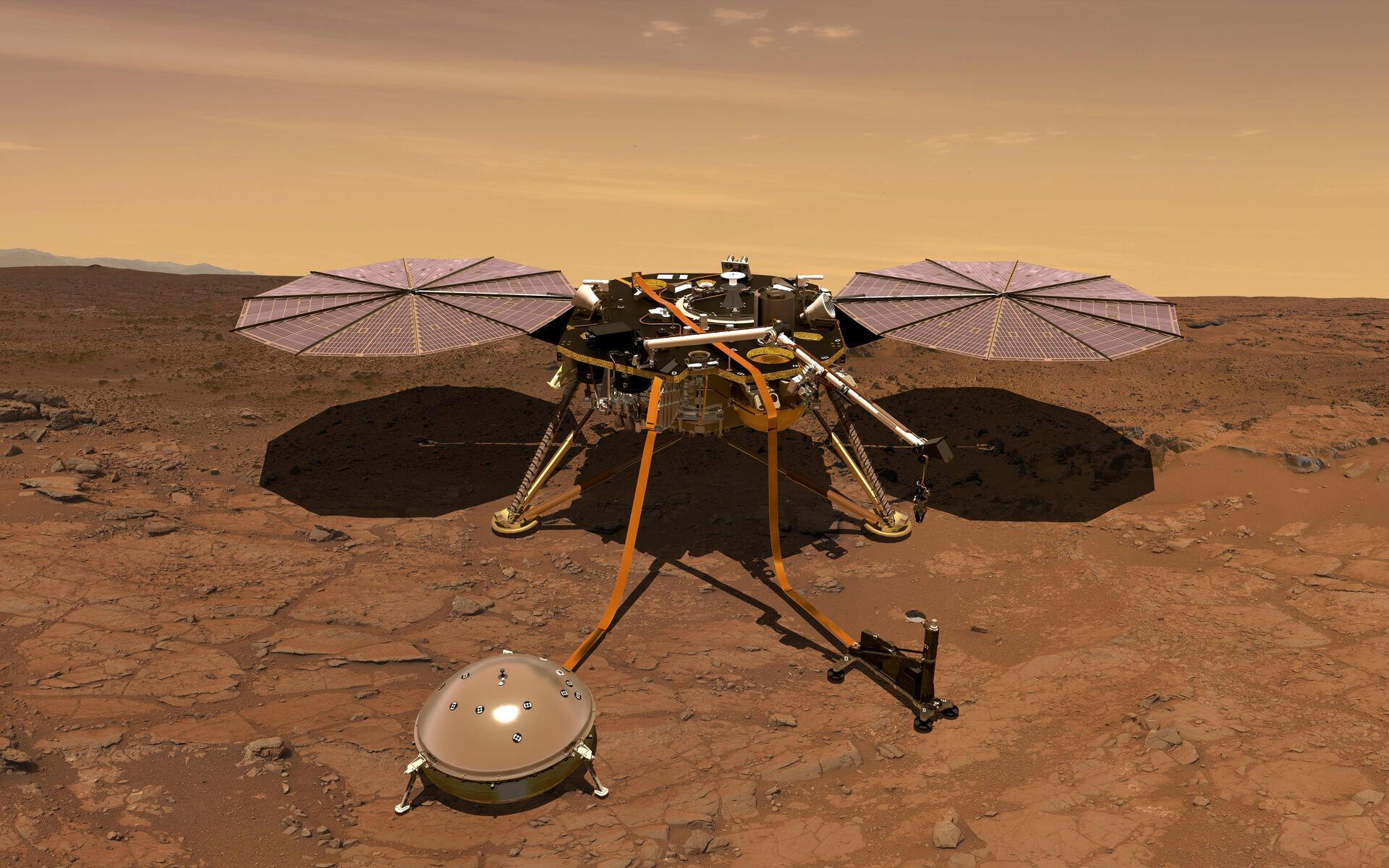 Imagem 3D da Nasa mostrando a sonda InSight que foi lançada neste sábado (5) para explorar Marte.