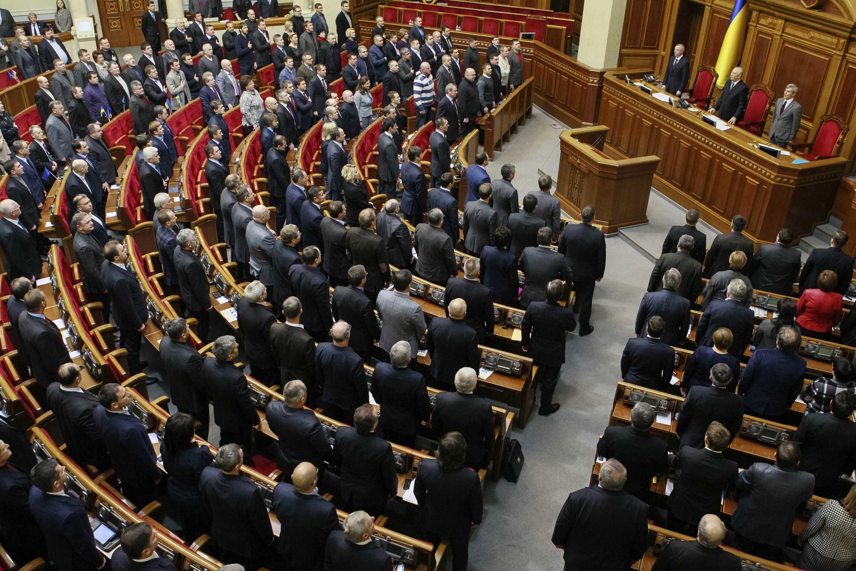 Le Parlement ukrainien en session extraordinaire, ce mardi 28 janvier 2014.
