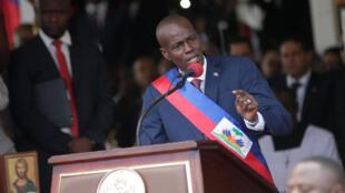 Le président haïtien Jovenel Moïse, lors de son discours d'investiture le 7 février 2017. Il a nommé Jack Guy Lafontant comme Premier ministre, le 23 février 2017.