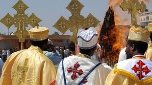 Orthodox Eritrean priests take part in the festival of Meskel, September 2007.