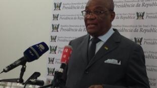 O presidente são-tomense Evaristo Carvalho durante o seu discurso à Nação, neste final de campanha.