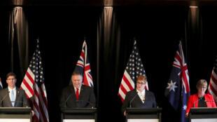 La ministre des Affaires étrangères australienne Marise Payne lors d'une conférence de presse avec son homologue américain Mike Pompeo et les ministres de la Défense des deux pays.