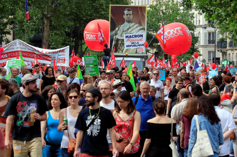 تظاهرات شهروندان فرانسه مخالف سیاستهای امانوئل ماکرون در پاریس. شنبه ۵ خرداد/ ٢۶ مه ٢٠۱٨