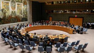 O Conselho de Segurança das Nações Unidas reunidos, na sede da U.N. em Nova York, sobre a situação no Oriente Médio, 18 de dezembro de 2017.