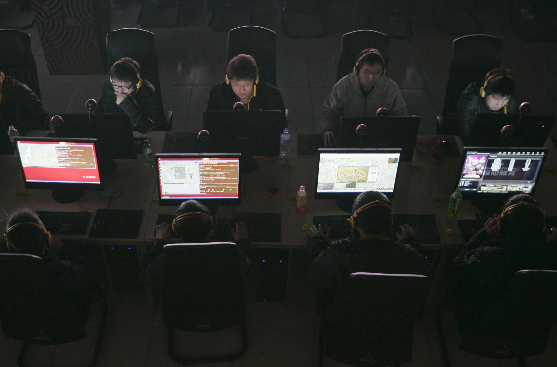Dans un cybercafé à Taiyuan, dans la province de Shanxi, Chine.