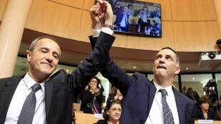 Corsican nationalist leaders Gilles Simeoni and Jean-Guy Talamoni after winning regional elections in December