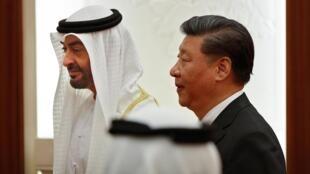 图为阿联酋王储2019年7月22日访问北京会见中国主席习近平