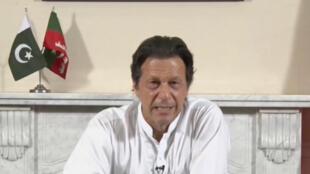 Imran Khan affirme avoir remporté les élections législatives pakistanaises, dans une déclaration télévisée, le 26 juillet 2018.