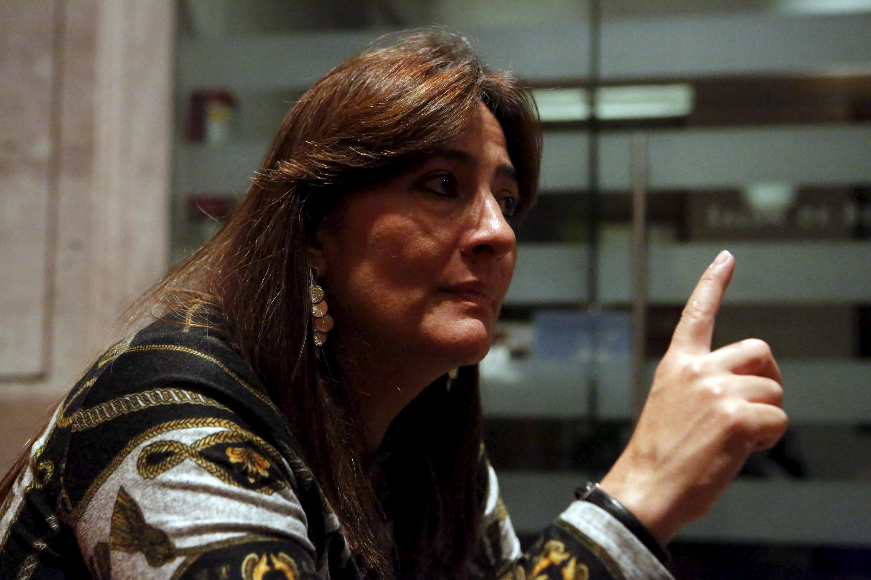 Angela Buitrago, miembro de la CIDH, durante una entrevista sobre la entrega del informe final, el 24 de abril de 2016 en Ciudad de México.