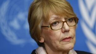 联合国人权理事会朝鲜人权状况调查委员会成员之一索尼亚•毕塞尔科(Sonja Biserko)2014年3月14日在日内瓦的一次记者会上。