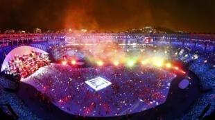 Um dos momentos da cerimônia de abertura da Rio 2016