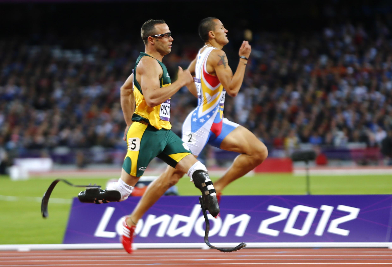 Oscar Pistorius lors de la demi-finale du 400 mètres aux JO de Londres, le 5 août 2012.
