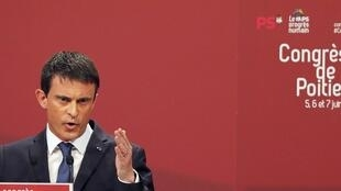 Prime Minister Manuel Valls at the party congress in Poitiers on Saturday