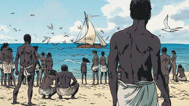 Détail de la couverture de la BD «Les esclaves oubliés de Tromelin».