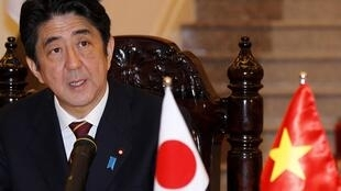 Japan's Prime Minister Shinzo Abe speaking during a news briefing in Hanoi, 16 January, 2013