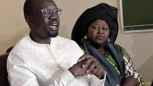 Sonko speaks during a meeting in Dakar on 16 March 2021.