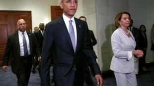 Tổng thống Barack Obama sau buổi thuyết phục Quốc hội cho ông rroojng quyền đàm phán về TPP, hôm 12/06/2015.