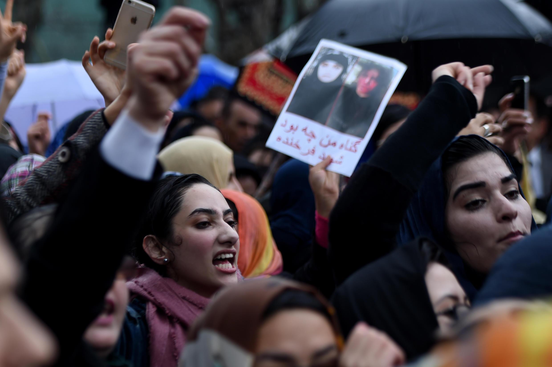 Manifestation de protestation après l'assassinat de Farkhunda à Kaboul, le 24 mars 2015.