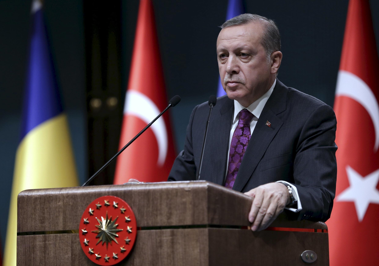 Tổng thống Thổ Nhĩ Kỳ Recep Tayyip Erdogan lên tiếng về vụ khủng bố tại Bruxelles ngày 22/03/2016.