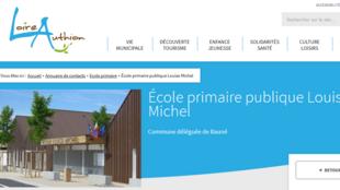 Capture d'écran du site de l'école primaire publique Louise Michel.