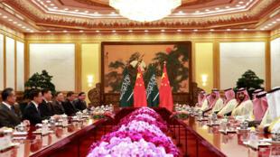 Ảnh minh họa : Thái tử Ả Rập Xê Út Mohammad Ben Salman họp với chủ tich Trung Quốc Tập Cận Bình tại Bắc Kinh, ngày 22/02/2019.