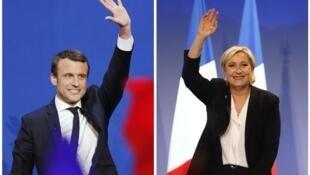 Hai ứng cử viên tổng thống Pháp Emmanuel Macron (T) và Marine Le Pen