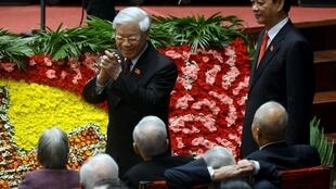 Ông Nguyễn Phú Trọng và ông Nguyễn Tấn Dũng tại Đại hội Đảng 12 ngày 21/01/2016.