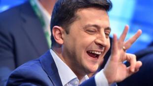 Volodymyr Zelensky, o novo presidente eleito da Ucrânia, pouco depois do anúncio da sua vitória neste domingo 21 de Abril de 2019.
