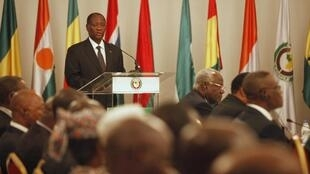Côte d'Ivoire President and head of Ecowas Alassane Ouattara makes a speech on the coup in Mali, Abidjan, 27 March
