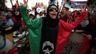Mulheres líbias fizeram protesto contra Muammar Kadafi em Trípoli.