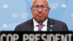 Frank Bainimarama, président de la COP 23, à Bonn, le 6 novembre 2017.