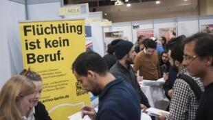 Feira de emprego para refugiados e migrantes, organizado por cerca de 200 empresas e consultorias que fornecem informações sobre como encontrar ofertas de emprego e formação profissional. Berlim 25/01/17