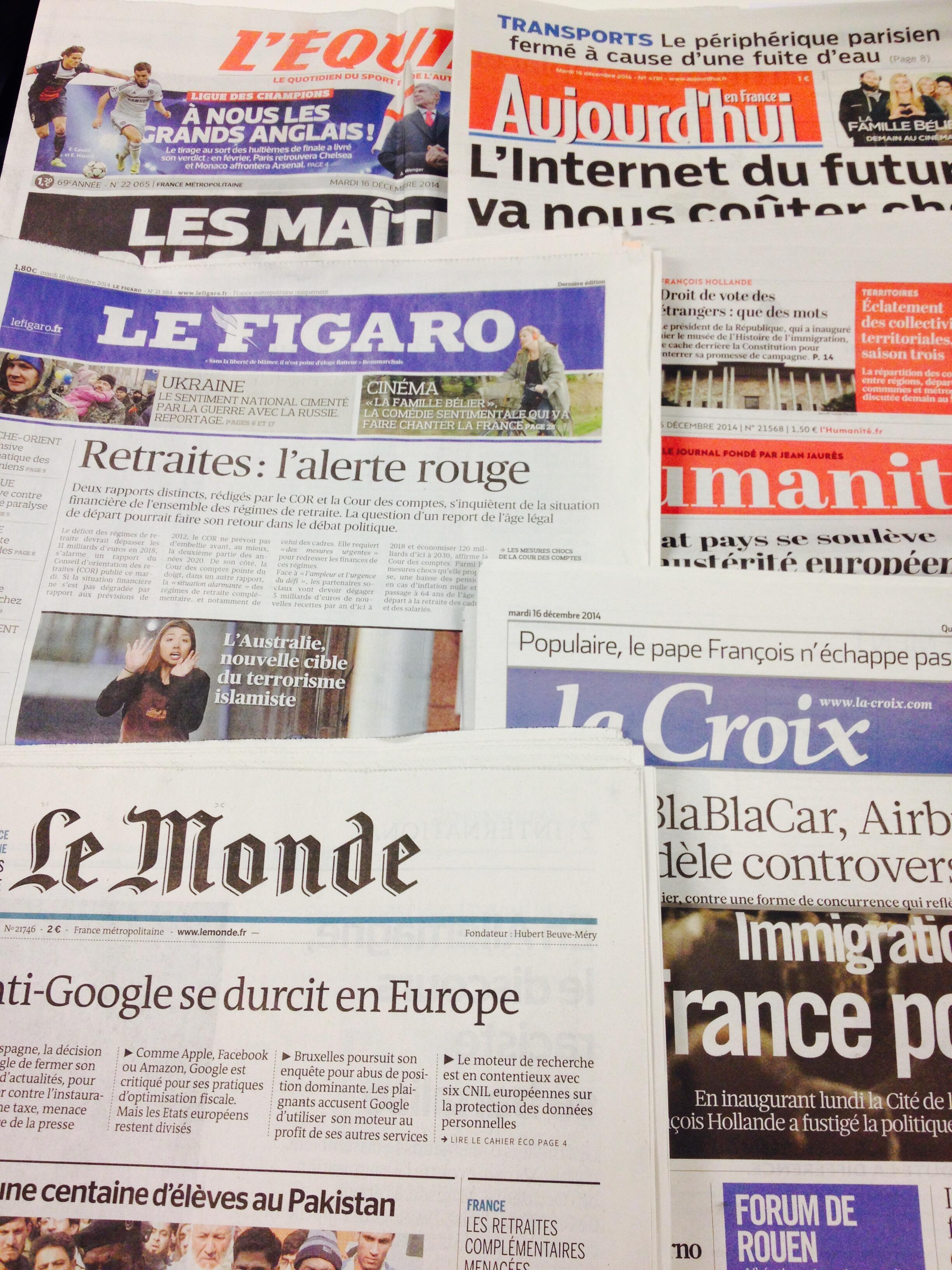 Primeiras páginas jornais 16/12/2014