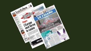Capa dos jornais franceses, Le Figaro, Libération e Les Echos desta segunda-feira, 25 de Março.