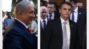 O primeiro-ministro israelense, Benjamin Netanyahu, confirmou sua presença na posse de Jair Bolsonaro, no dia 1º de janeiro de 2019. Fotomontagem RFI
