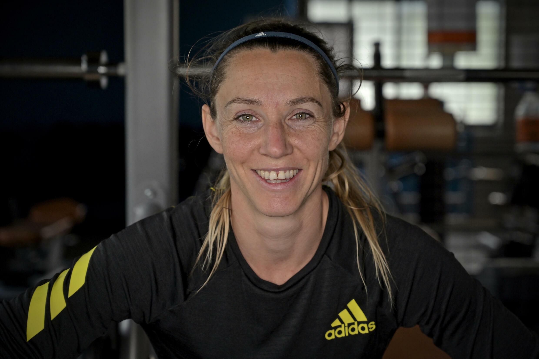 Marie-Amélie Le Fur, présidente du Comité paralympique et sportif français (CPSF) et détentrice du record du monde du 400 m et de la longueur, le 21 mai 2021 au Stade Jean-Leroy à Blois, avant un entraînement pour les Jeux Paralympiques de Tokyo 2020