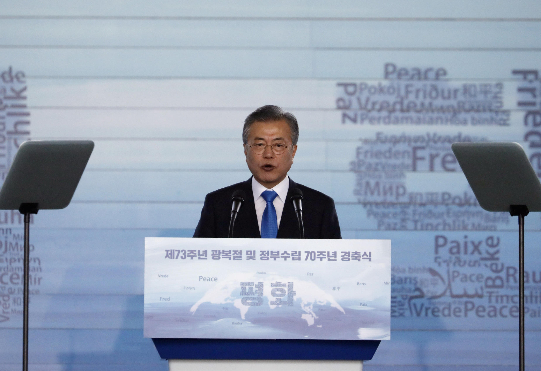 Tổng thống  Moon Jae-in phát biểu trong lễ kỷ niệm 73 năm Hàn Quốc thoát khỏi ách thực dân Nhật năm 1945, tại Seoul ngày 15/08/2018