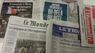 Primeiras páginas dos jornais franceses de 13 de fevereiro de 2017