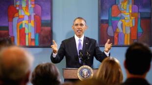 Aliyekuwa rais wa Marekani Barack Obama akizungumzia kuhusu wahamiaji wakati alipotembelea eneo la Casa Azafran mjini Nashville. Picha ya maktaba. December 9, 2014.